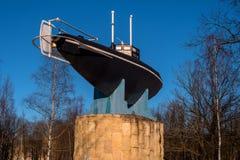 Gatchina, Россия - 27-ое марта 2018: Памятник первой русской подводной лодки Стоковое фото RF
