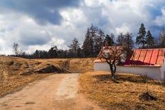 Gatchina Le printemps 2017 Paysage de ressort au parc de prieuré en avril Photographie stock