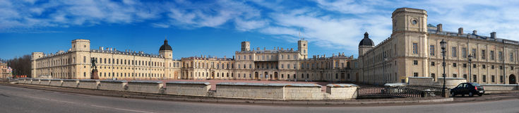 Gatchina Palace. Panoramic shot of the Palace Square and the main entrance. Stock Photo