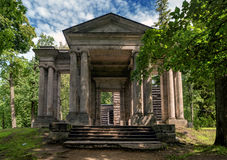 Gatchina Palace Park. Birch House. In front is a portal mask. Stock Photo