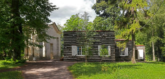 Gatchina Palace Park.. View Birch House and the portal mask. Royalty Free Stock Image