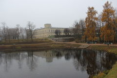 Gatchina Palace Paul I and Karpin pond in Gatchina Royalty Free Stock Images