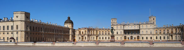 Gatchina Palace. Russia. Panoramic view of the Palace Square and the main entrance and the left wing of the palace with Royalty Free Stock Photos