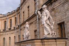 Gatchina Palace. Sculptures at the main entrance. Royalty Free Stock Photography