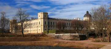 Gatchina Palace. View from the Karpin pond. Stock Image