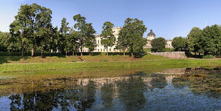 Gatchina Palace. View from the lake in the early morning Stock Images