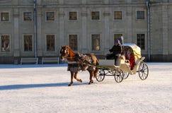 Gatchina, Rússia - 6 de janeiro de 2017: Mostra do Natal para crianças na terra de parada na frente do palácio de Gatchina Imagem de Stock
