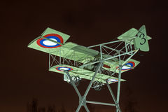 Gatchina, Russia - February 10, 2016: Fragment of the monument in honor of the 100th anniversary of the first military. Airport in Russia. Airplane Model Stock Image