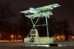 Gatchina, Russia - February 10, 2016: Monument in honor of the 100th anniversary of the first military airport in Russia. Airplane Model Foreman. Night Stock Photos
