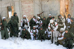 Gatchina, Russia, February 18, 2012: Reconstruction of the battle of the Second World War Stock Photos
