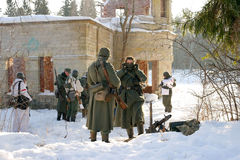 Gatchina, Russia, February 18, 2012: Reconstruction of the battle of the Second World War Stock Photography