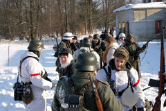 Gatchina, Russia, February 18, 2012: Reconstruction of the battle of the Second World War Royalty Free Stock Image