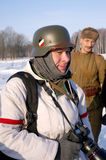 Gatchina, Russia, February 18, 2012: Reconstruction of the battle of the Second World War Stock Image