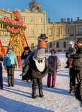 Gatchina, Russia - January 6, 2017: Christmas show for children on the parade ground in front of the Gatchina Palace. Stock Photography
