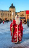 Gatchina, Russia - January 7, 2018: Christmas show for children on the parade ground in front of the Gatchina Palace. stock image