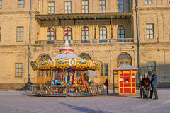 Gatchina, Russia - January 6, 2017: Gatchina Palace, New Year`s Fair on the parade ground. Royalty Free Stock Images