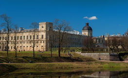 Gatchina, Russia - May 1, 2016: Gatchina Palace. View from the Karpin pond. Royalty Free Stock Image