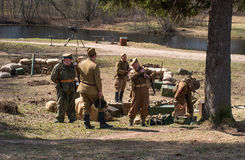 Gatchina, Russia - May 7, 2017: Historical reconstruction of the battles of World War II. stock photography