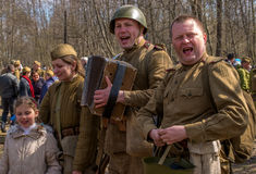 Gatchina, Russia - May 7, 2017: Historical reconstruction of the battles of World War II. Stock Image