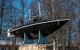 Gatchina, Russia - May 3, 2017: Monument of the first Russian submarine. stock images
