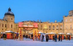 Gatchina, Russland - 2. Januar 2017: Gatchina-Palast, neues Jahr ` s angemessen auf dem Paradeplatz Stockfotos
