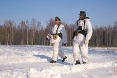 Gatchina Ryssland, Februari 18, 2012: Rekonstruktion av striden av det andra världskriget Royaltyfri Foto