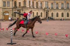 Gatchina, St Petersburg, Rússia - 30 de setembro de 2017: Mostra do cavalo dos cossacos na terra de parada do Gatchina Fotografia de Stock