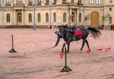 Gatchina, St Petersburg, Rusia - 30 de septiembre de 2017: Demostración del caballo de cosacos en la tierra de desfile del Gatchi Imagenes de archivo