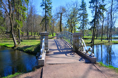 Gatchina. St. Petersburg, Russia. Palace Garden, State Museum in Gatchina, Lake Beloe, Bridge on the Water Labyrinth, Landscape Royalty Free Stock Photography