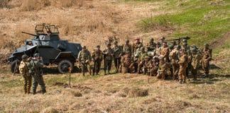Gatcina, Russia - 7 maggio 2017: Ricostruzione storica delle battaglie della seconda guerra mondiale immagine stock