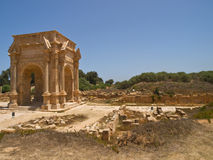 The gate. Gate to the antic Laptis Magna in lybia Stock Photography