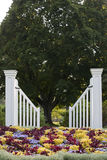 Gate. White gate and pretty flower Royalty Free Stock Photo