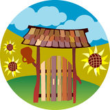 Gate. Illustration of wooden gate in country style vector illustration