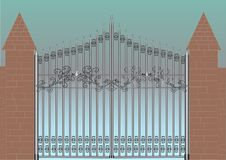 Gate. Iron gray gate and wall royalty free illustration