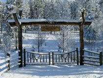 Gate. This picture was taken in the Flathead Valley of western Montana just after a fresh snowfall Royalty Free Stock Photo
