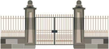 The gate. An enterance to a great house or a palace Royalty Free Stock Photo