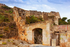 Gate at abandoned castle of Sagunto Royalty Free Stock Photography