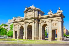Gate of Alcala Puerta de Alcala Neo-classical monument in the. Plaza de la Independence in Madrid, Spain Royalty Free Stock Images
