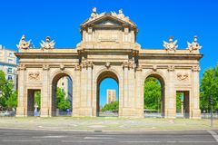 Gate of Alcala Puerta de Alcala Neo-classical monument in the. Plaza de la Independence in Madrid, Spain Stock Images