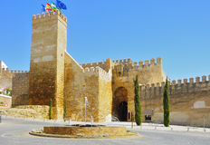 Gate alcazar with a fountain in the foreground, Carmona Royalty Free Stock Photos