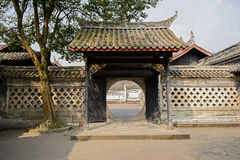 Gate of ancient Chinese building in sunny spring Royalty Free Stock Photo