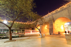 The gate of the ancient city of xian in the evening Royalty Free Stock Image