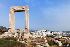 Gate of Apollon at Naxos island, Greece Royalty Free Stock Images