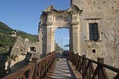 Fiumefreddo castle gate. The gate of the aragonese castle of fiumefreddo del bruzio in italy stock photography