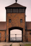 The gate of Auschwitz stock image