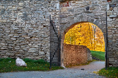 Gate in autumn Stock Photo