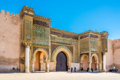 Gate Bab El-Mansour at the El Hedim square in Meknes - Morocco. MEKNES,MOROCCO - APRIL 7,2017 - Gate Bab El-Mansour at the El Hedim square in Meknes. Meknes is royalty free stock photos