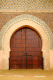 Gate of Bab el-Mansour, Meknes, Morocco. A typical, beautifully carved Moroccan door in Meknes Stock Photo