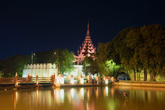 Gate Bastion of the fortifications of the ancient city of Mandalay in evening. Myanmar Royalty Free Stock Photography
