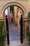 Gate and beautiful small yard,Rethymno,Crete Royalty Free Stock Image
